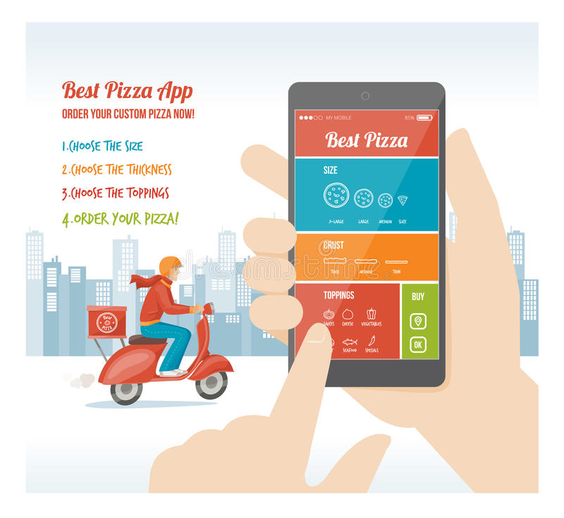 Beste pizza app vector illustratie