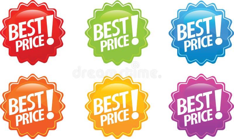 Beste prijs glanzende sticker vector illustratie