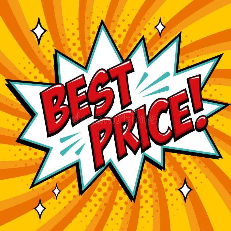 Beste prijs - het Grappige woord van de boekstijl op een gele achtergrond Beste de toespraakbel van de prijs grappige tekst Banne stock illustratie