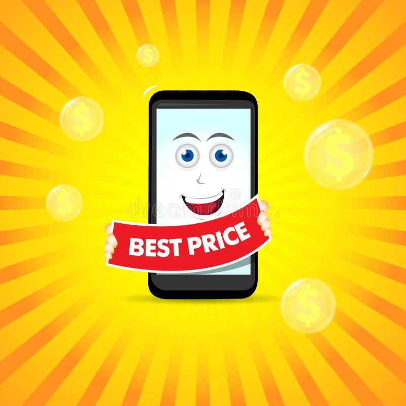 Beste prijs slimme telefoon Slimme telefoonkarakters Vectortelefoonillustratie Slim telefoonbeeldverhaal vector illustratie