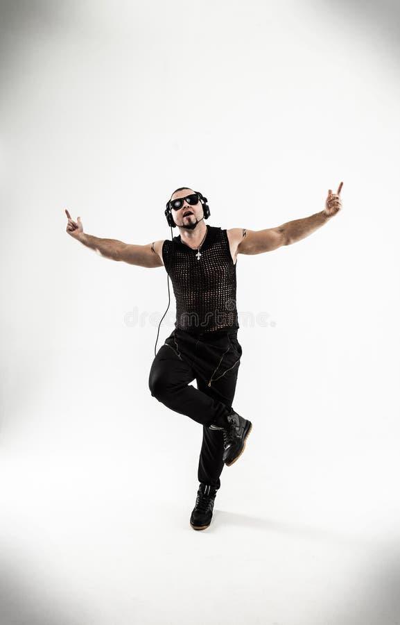 Beste rapper het dansen onderbrekingsdans Foto op een witte achtergrond stock afbeelding