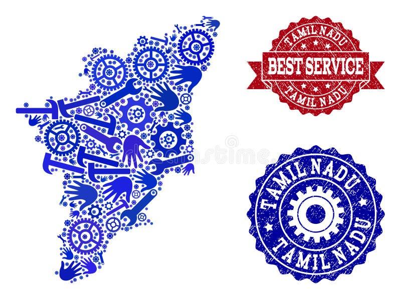 Beste Service-Collage der Karte des Tamil Nadu-Zustandes und der verkratzten Wasserzeichen stock abbildung