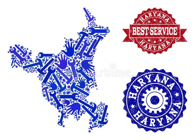 Beste Service-Collage der Karte Haryana-Staates und der strukturierten Wasserzeichen lizenzfreie abbildung