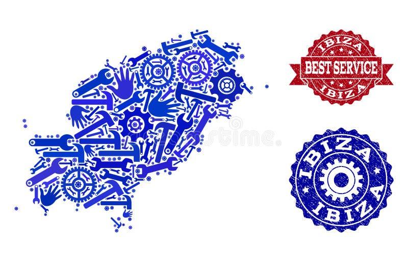 Beste Service-Collage der Karte der Insel-und Schmutz-Dichtungen Ibiza lizenzfreie abbildung