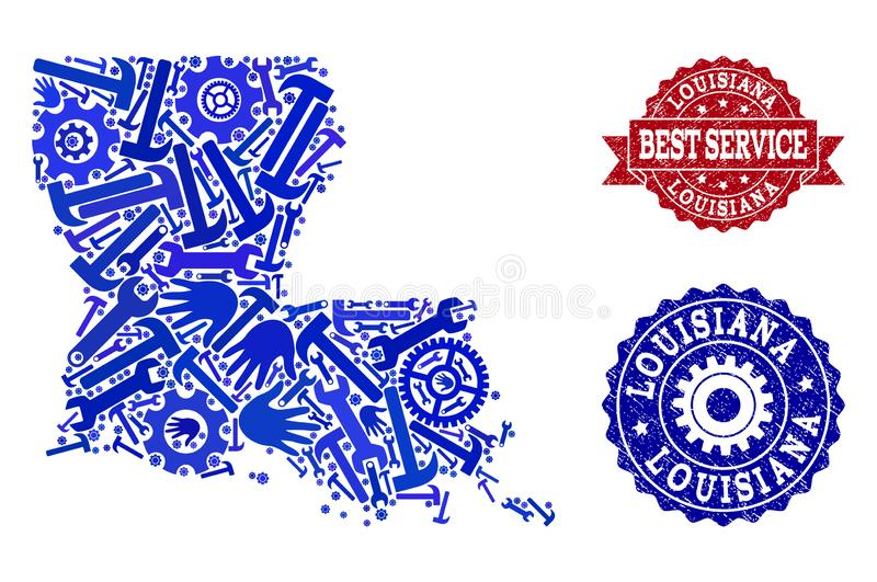 Beste Service-Collage der Karte der Staat Louisiana und der verkratzten Robben lizenzfreie abbildung