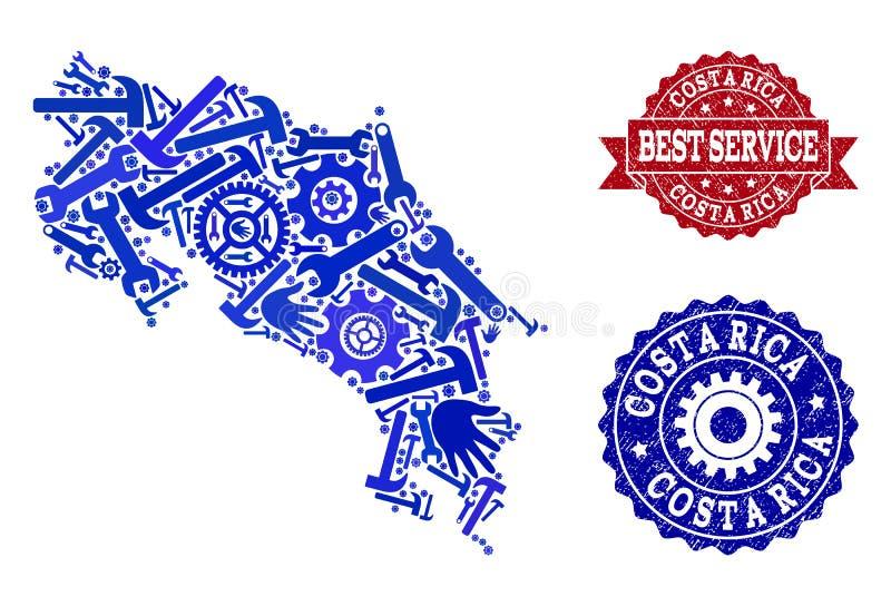 Beste Service-Collage der Karte von Costa Rica und von verkratzten Stempeln stock abbildung