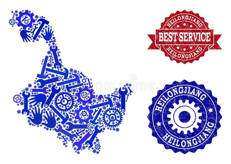 Beste Service-Collage der Karte von Heilongjiang-Provinz und von strukturierten Dichtungen stock abbildung