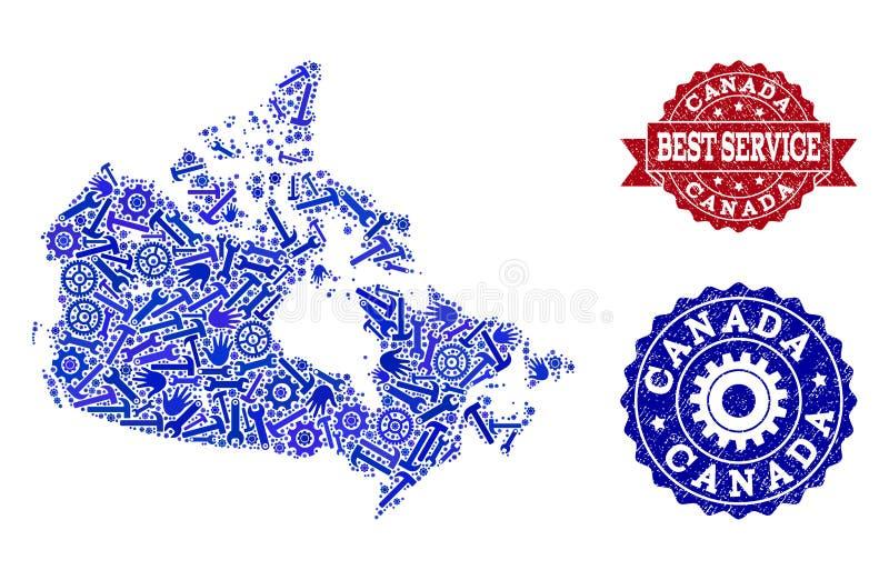 Beste Service-Collage der Karte von Kanada- und Bedrängnis-Stempeln stock abbildung