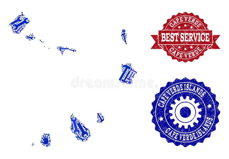 Beste Service-Collage der Karte von Kap-Verde Inseln und von strukturierten Dichtungen stock abbildung