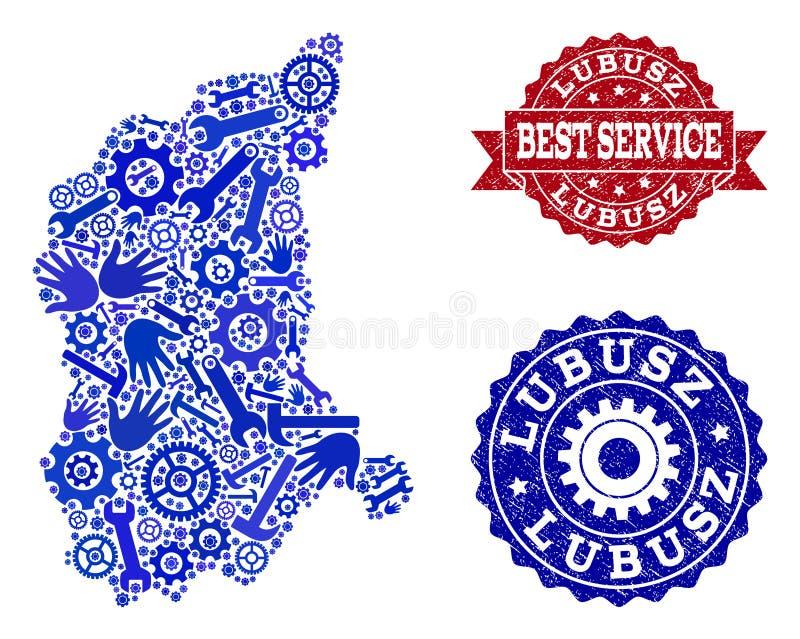 Beste Service-Collage der Karte von Lubusz-Provinz und von verkratzten Dichtungen stock abbildung