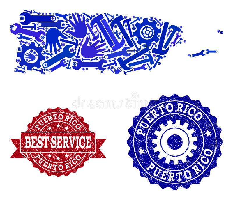 Beste Service-Collage der Karte von Puerto Rico und von Gummidichtungen vektor abbildung