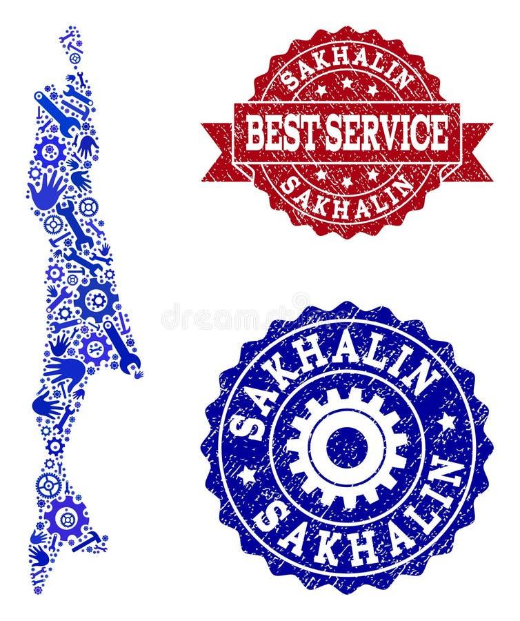 Beste Service-Collage der Karte von Sachalin-Insel und von strukturierten Dichtungen stock abbildung