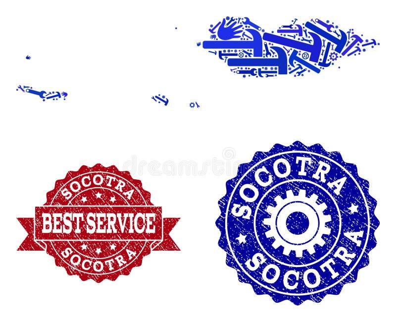Beste Service-Collage der Karte von Socotra-Archipel und von Gummidichtungen lizenzfreie abbildung