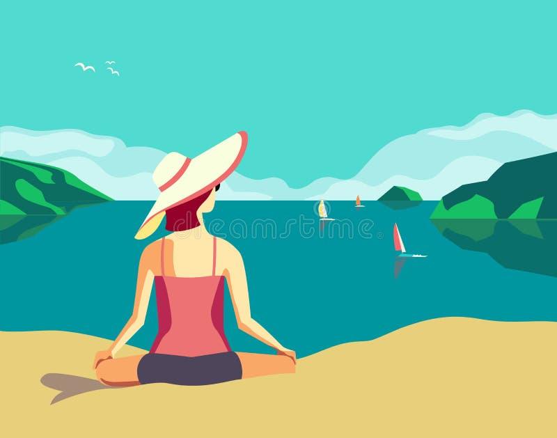 Beste Sommerferien entspannen sich lizenzfreie abbildung