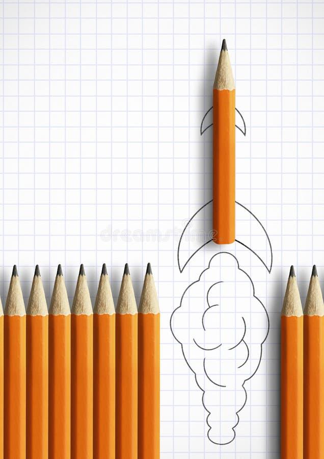 Beste startidee creatief concept, potlood zoals getrokken raket stock illustratie
