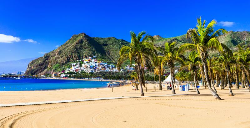 Beste stranden van Tenerife, Playa DE Las Teresitas, Spanje stock foto's