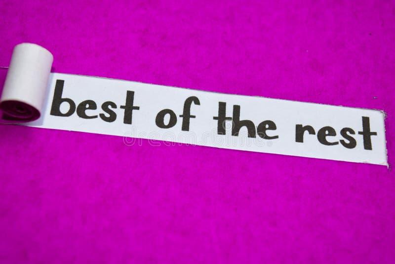 Beste van het Rust tekst, Inspiratie, Motivatie en bedrijfsconcept op purper gescheurd document stock afbeelding