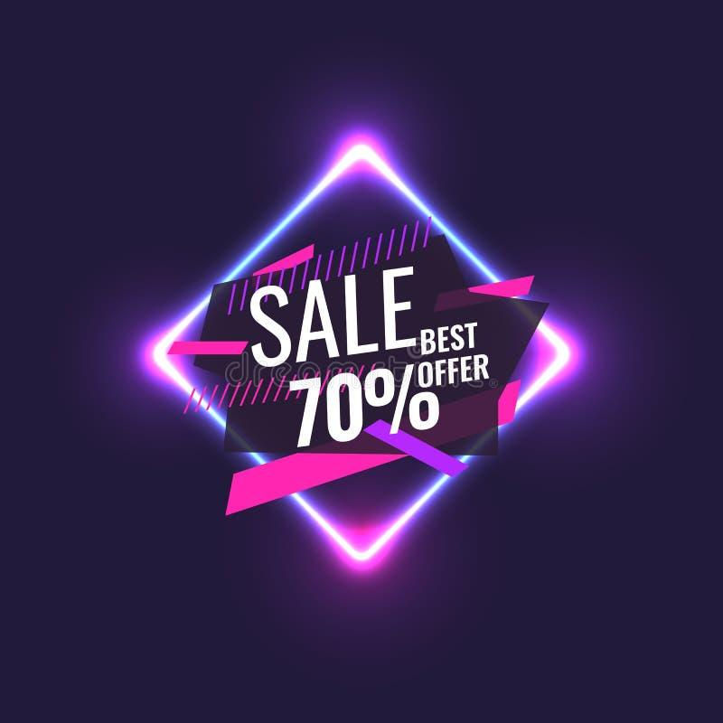 Beste Verkaufsfahne Ursprüngliches Plakat für Rabatt Geometrische Formen und Neon glüht gegen einen dunklen Hintergrund stock abbildung