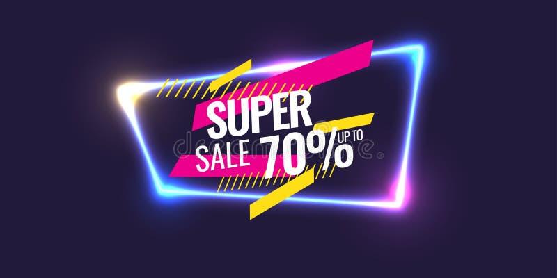 Beste Verkaufsfahne Ursprüngliches Plakat für Rabatt Geometrische Formen und Neon glüht gegen einen dunklen Hintergrund vektor abbildung
