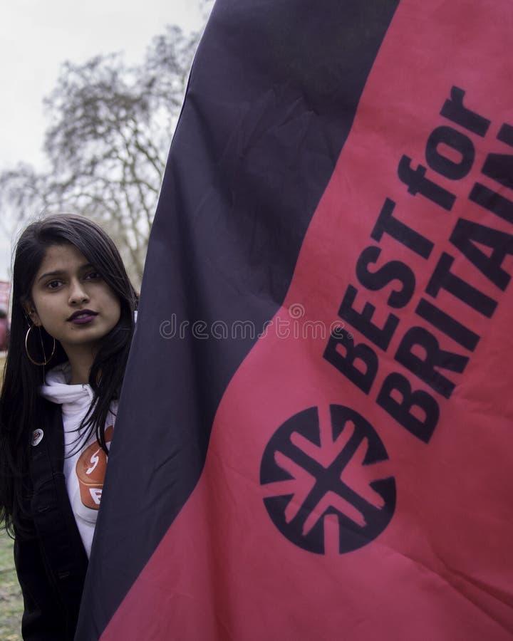 Beste voor de sociale campagnevoerder die van Groot-Brittanni? tegen Brexit protesteren stock afbeeldingen