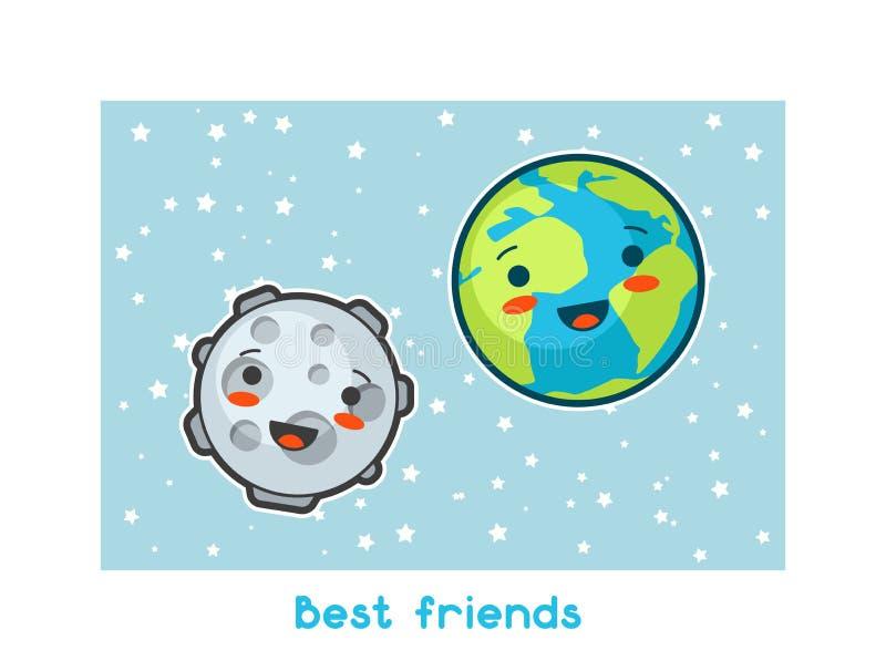 Beste Vrienden Kawaii ruimte grappige kaart Krabbels met mooie gelaatsuitdrukking Illustratie van beeldverhaalaarde en maan stock illustratie