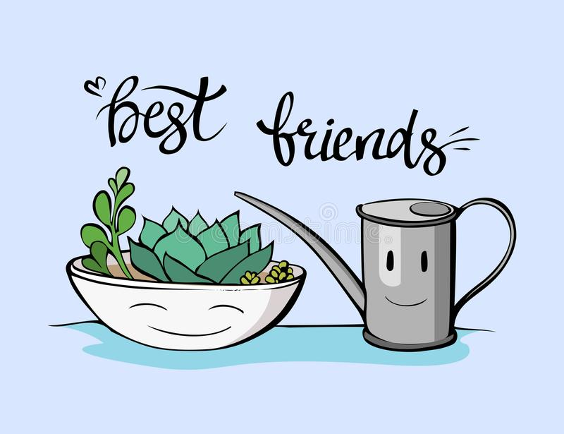 Beste vrienden succulente illustratie Hand getrokken vriendschapsuitdrukking stock illustratie