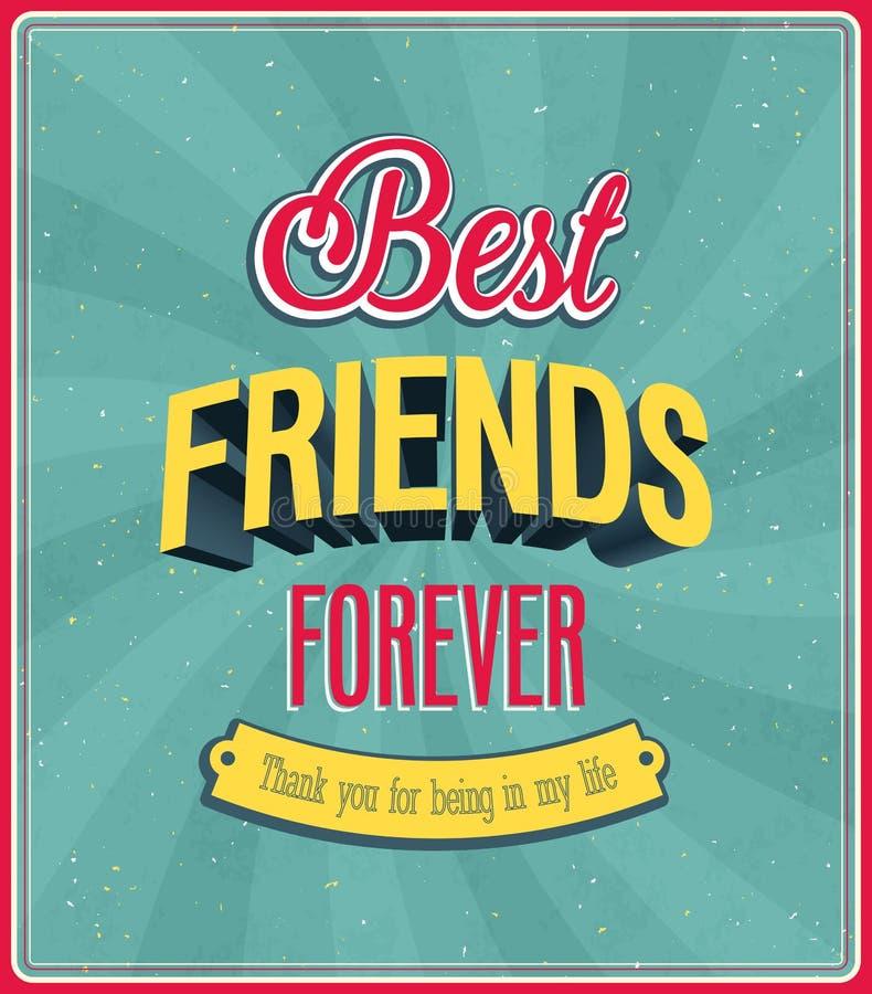 Beste vrienden voor altijd typografisch ontwerp. stock illustratie