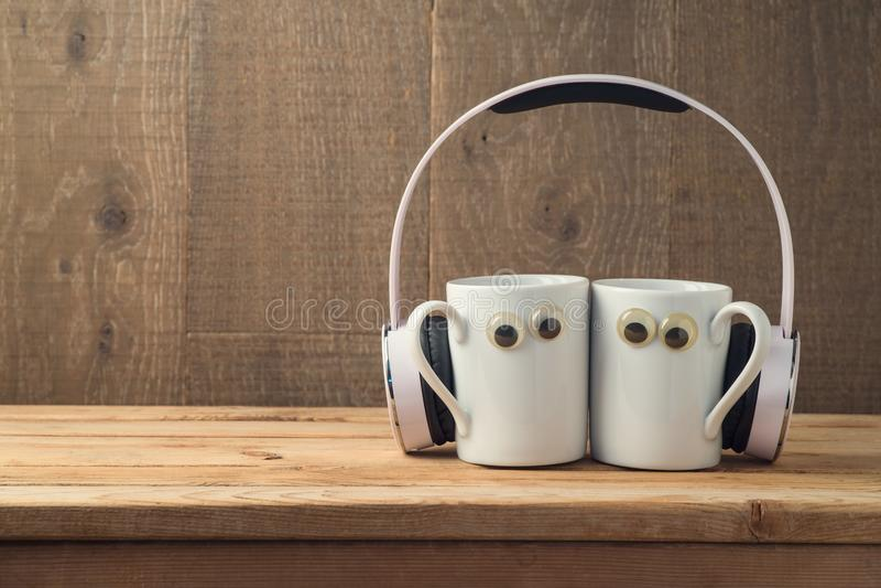 Beste vriendenconcept met twee koffiekoppen royalty-vrije stock afbeeldingen