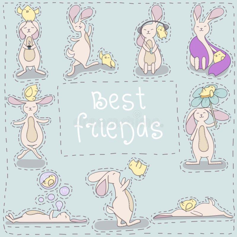 Beste vriendenkuiken en konijn royalty-vrije stock foto's