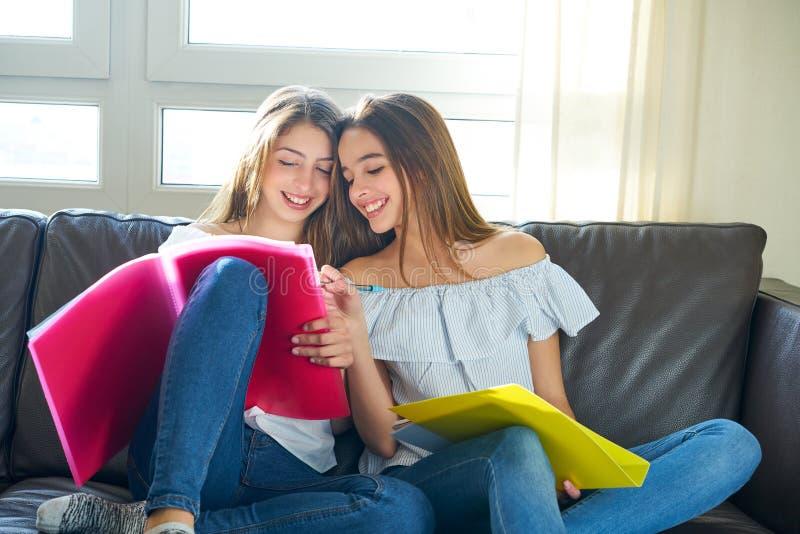 Beste vriendenmeisjes die thuiswerk thuis bestuderen stock afbeelding