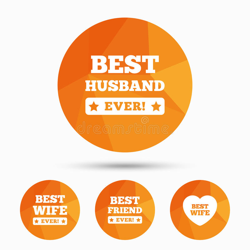 Beste vrouw, echtgenoot en vriendenpictogrammen vector illustratie
