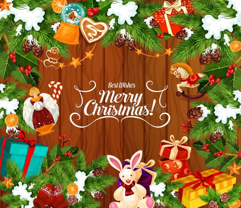 Beste Wünsche der frohen Weihnachten, Grußkarte vektor abbildung