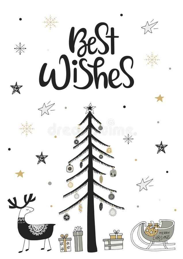 Beste Wünsche - Hand gezeichnete Weihnachtskarte in der skandinavischen Art mit einfarbigen Elementen und Beschriftung lizenzfreie abbildung