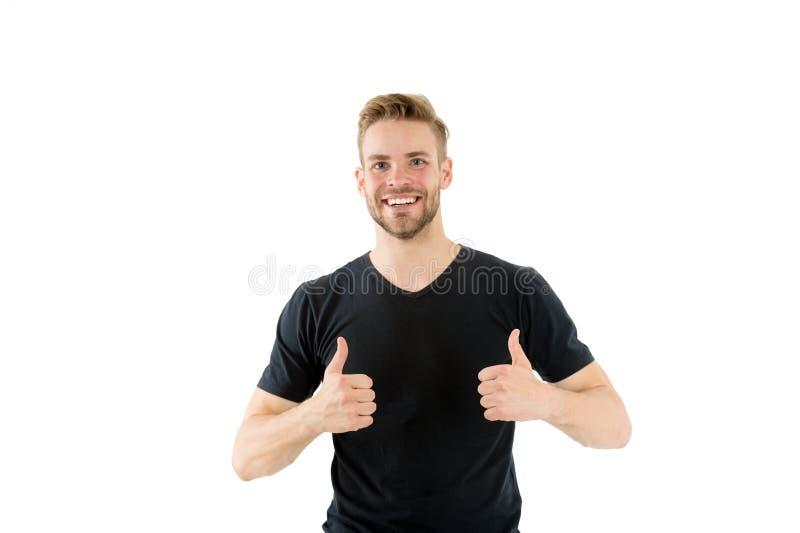 Beste Wahl Bärtiges glückliches Gesicht des Mannes zeigt sich Daumen, weißer Hintergrund Mann mit unrasiertem Kerl des Bartes sch stockbild