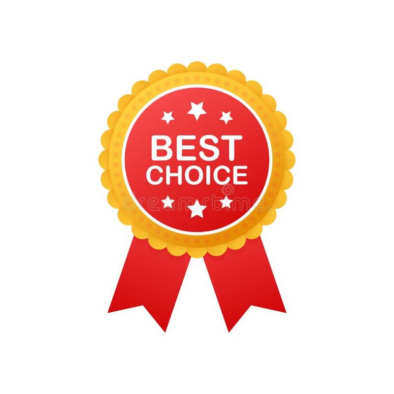 Beste Wahl, realistisches rotes Gewebepreisband Auch im corel abgehobenen Betrag vektor abbildung