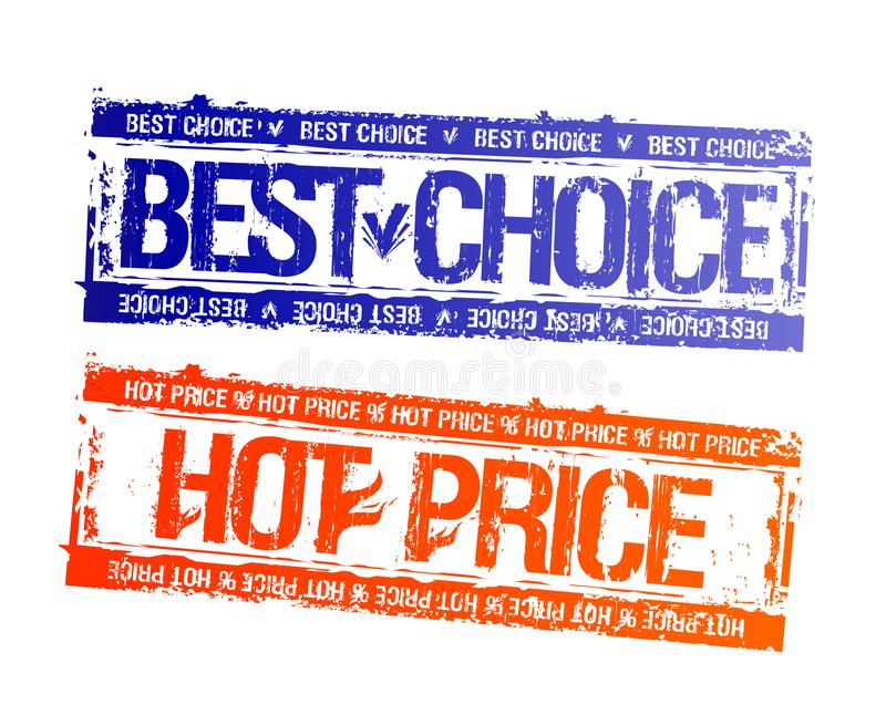 Beste Wahl und heißer Preisstempelimpressumsatz vektor abbildung
