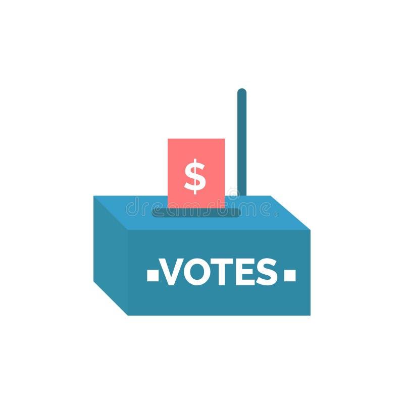 Bestechungsgeld, Korruption, Wahl, Einfluss, Geld-flache Farbikone Vektorikonen-Fahne Schablone stock abbildung