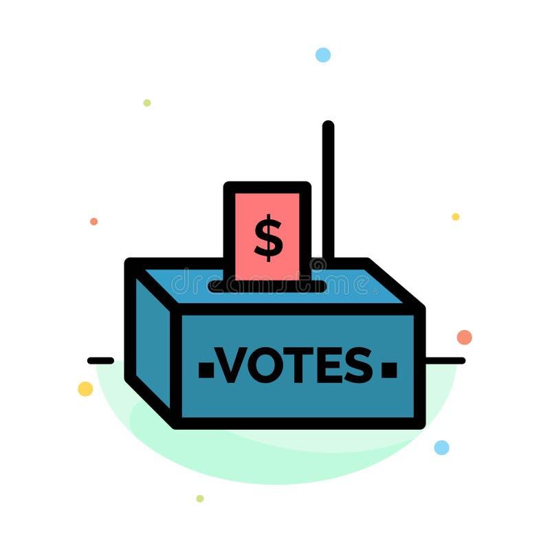 Bestechungsgeld, Korruption, Wahl, Einfluss, Geld-Zusammenfassungs-flache Farbikonen-Schablone lizenzfreie abbildung