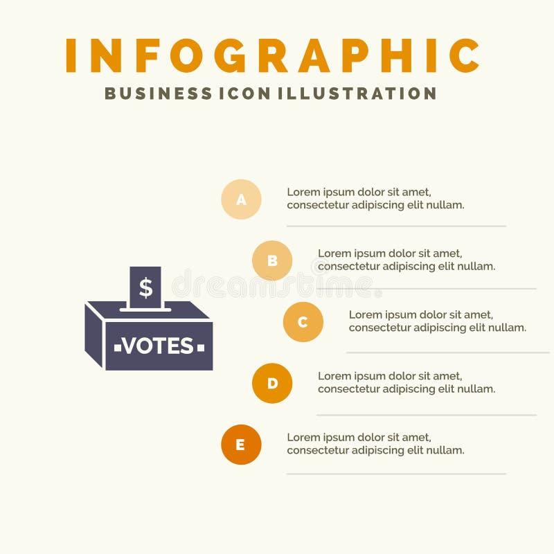 Bestechungsgeld, Korruption, Wahl, Einfluss, Schritt-Darstellungs-Hintergrund Geld-fester Ikone Infographics 5 lizenzfreie abbildung