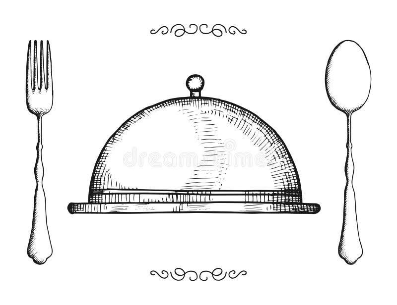 Bestek geïsoleerde wijnoogst voorwerpen geplaatst dienblad-plaat vork en lepel royalty-vrije illustratie