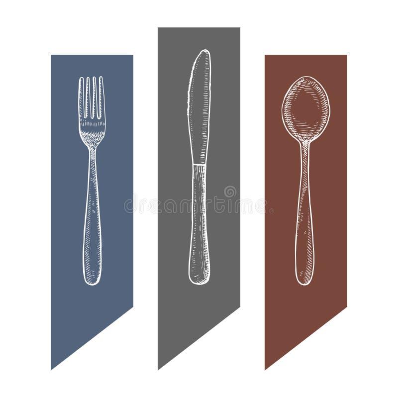 Bestek vector uitstekende schets vorkmes en geïsoleerde de tekening van de lepelhand stock illustratie