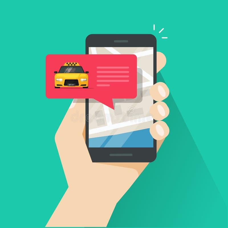 Bestellendes on-line-Taxi auf Smartphone vector Illustration, flachen Kartonhandy, Taxi in der Blase, Stadtplanstandort stock abbildung