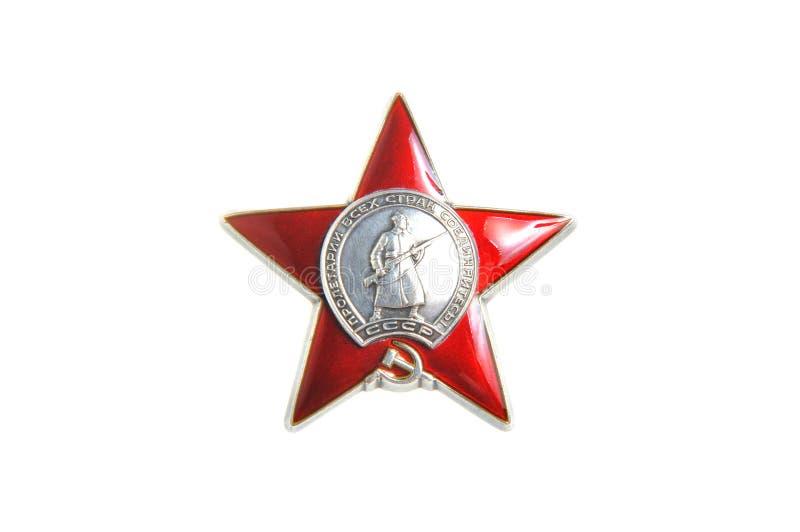 Bestellung des roten Sternes lokalisiert auf Weiß stockbilder