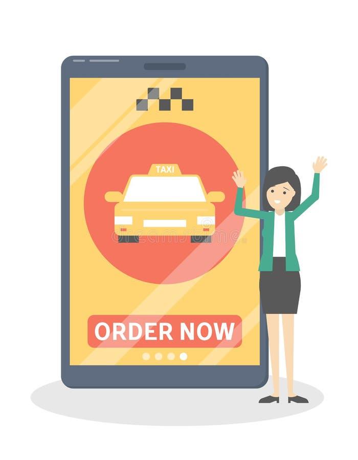 Bestellung fahren jetzt Knopf in der APP mit einem Taxi stock abbildung