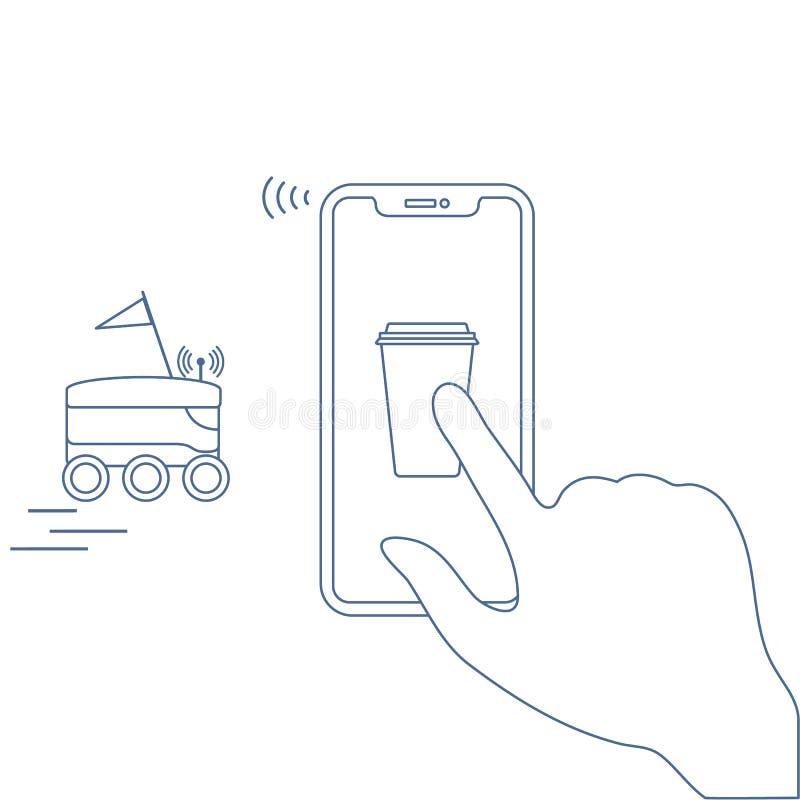 Bestellung in intelligenter Telefon-APP, Lieferung mit Roboter stock abbildung