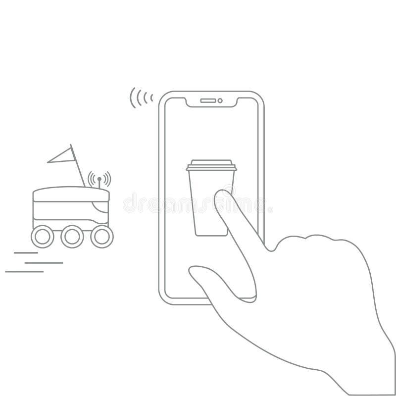 Bestellung in intelligenter Telefon-APP, Lieferung mit Roboter vektor abbildung
