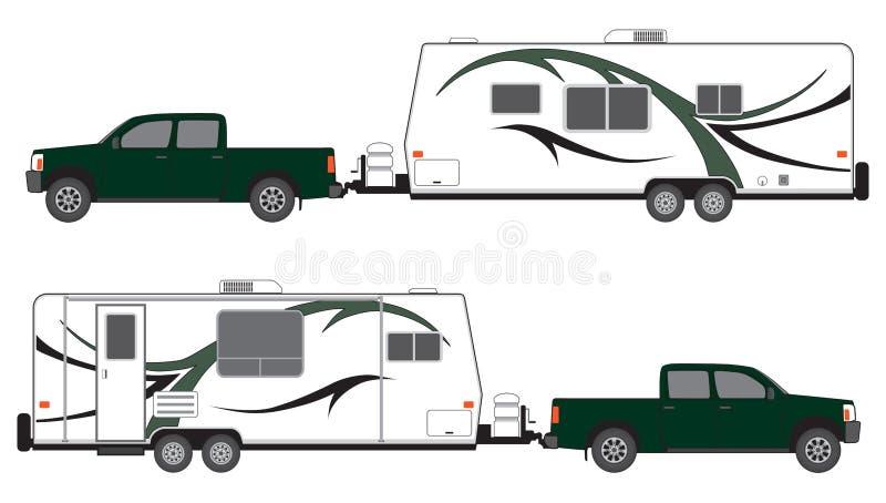 Bestelwagen en kampeerautoaanhangwagen stock illustratie