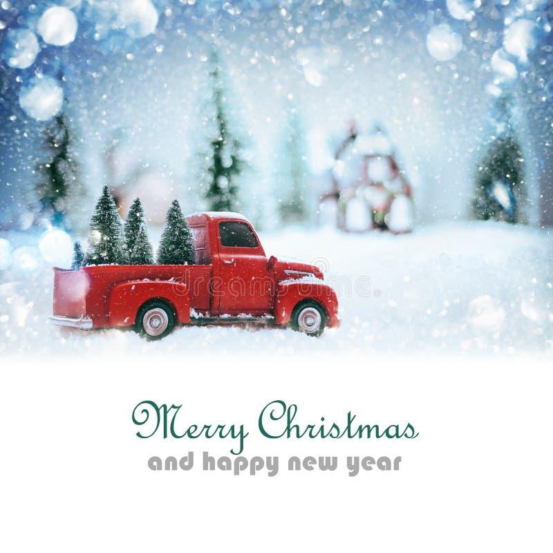 Bestelwagen met Kerstboom vector illustratie