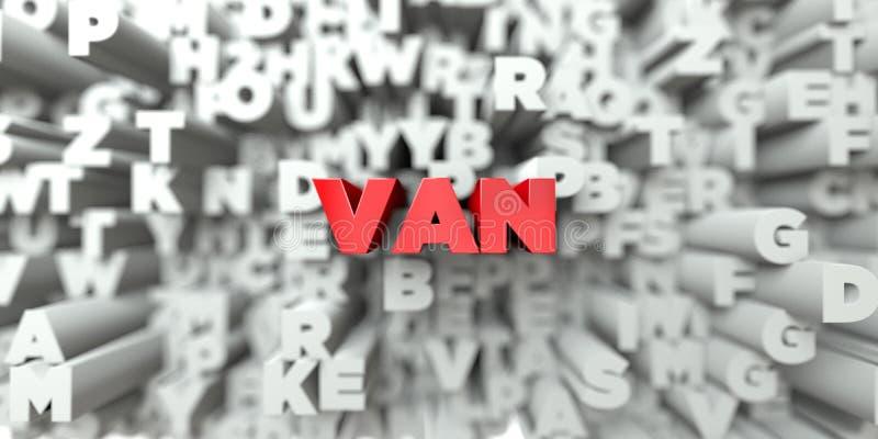 BESTELWAGEN - Rode tekst op typografieachtergrond - 3D teruggegeven royalty vrij voorraadbeeld royalty-vrije illustratie