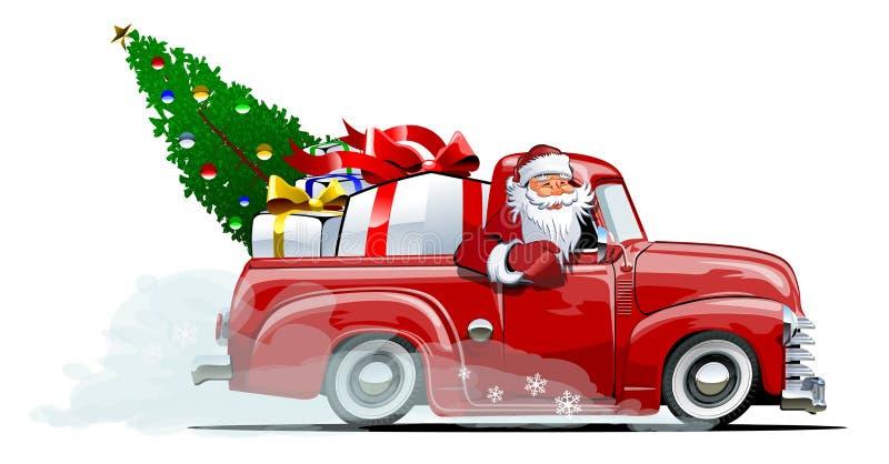 Bestelwagen van beeldverhaal retro Kerstmis royalty-vrije illustratie
